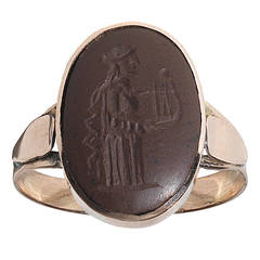 Roman Agate Gold Intaglio Ring