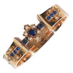 Pearl Sapphire Gold Flower Bangle Bracelet