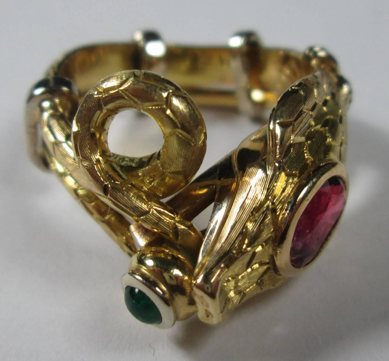 ruby emerald snake ring at 1stdibs