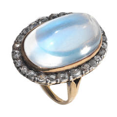 Victorian Moonstone Diamond Gold Cluster Ring