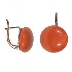 Coral Gold Button Earrings