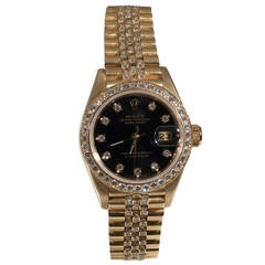 Rolex Lady's Gold and Diamond Set Automatic Wristwatch Ref 69138 1991