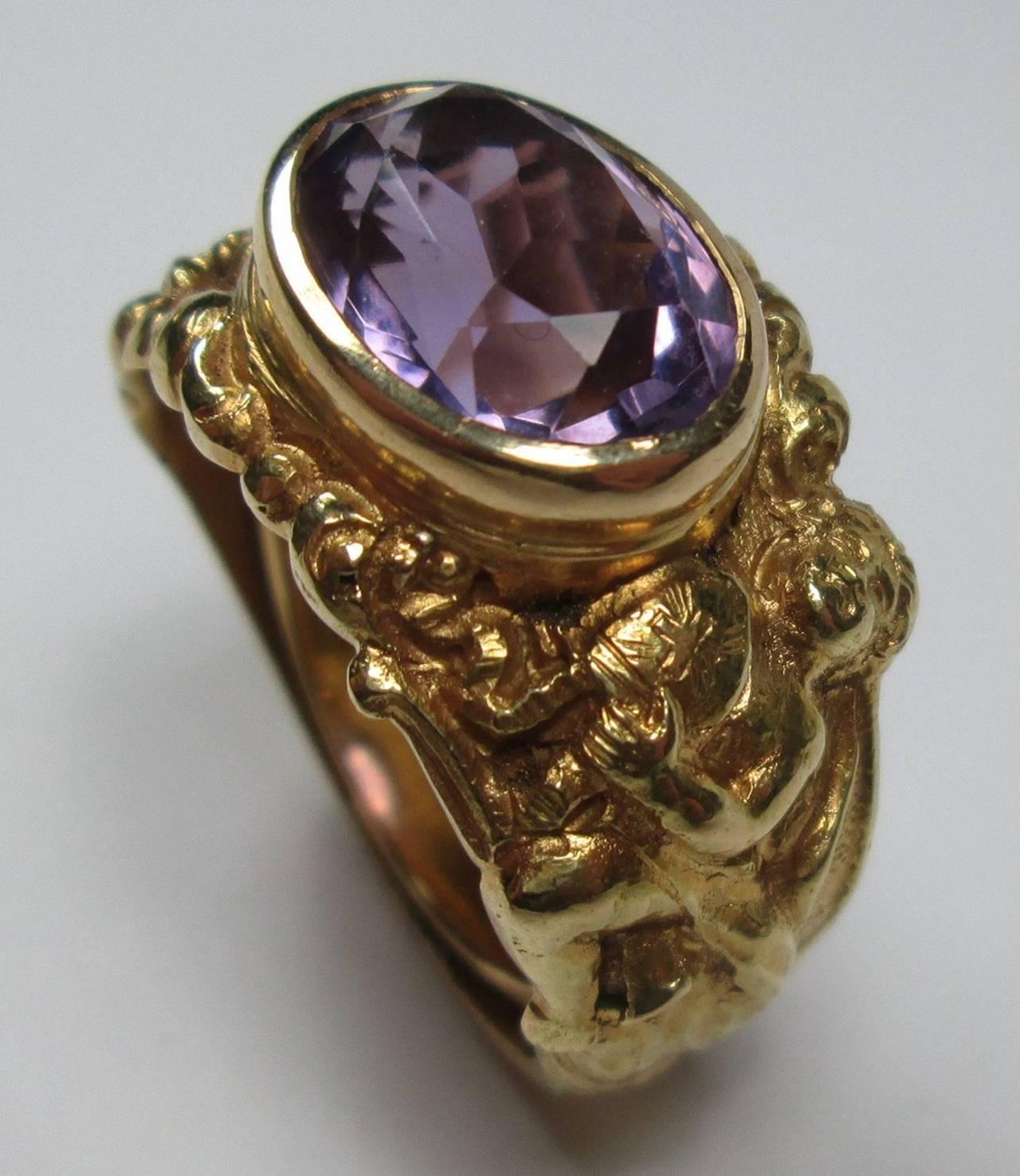 antique amethyst gold bishop ring at 1stdibs