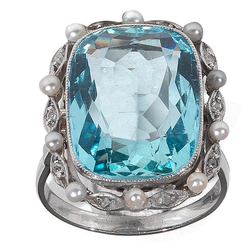 Aquamarine Pearl Diamond Gold Ring At 1stdibs