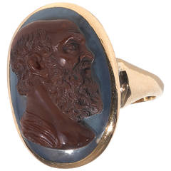 Georgian Agate Cameo Ring of Socrates
