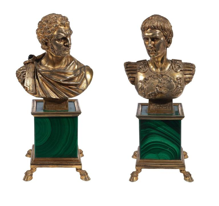 Pair of Antique Silver Gilt Malachite Roman Emperors Busts For Sale