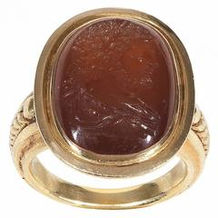 Antique 17th Century Intaglio Garnet Gold Ring
