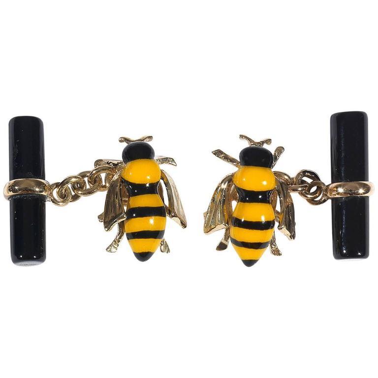 Enamel Onyx Gold Bee Cufflinks 1