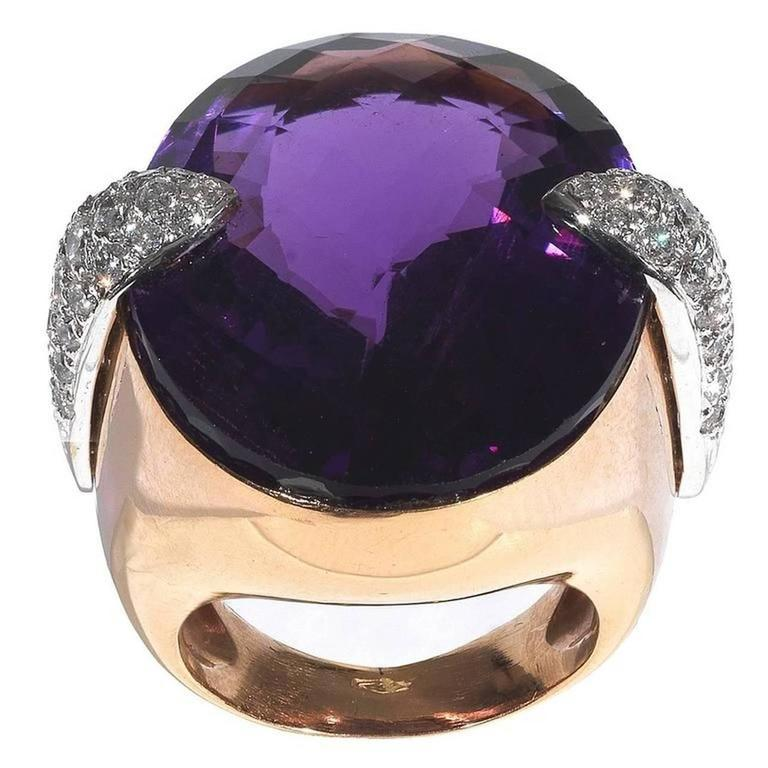 Amethyst Diamond Gold Dome Ring For Sale