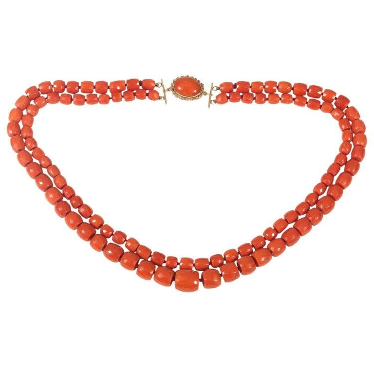 Two Row Retro Coral Bead Necklace