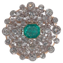 Emerald Diamond Gold Platinum Round Flower Brooch