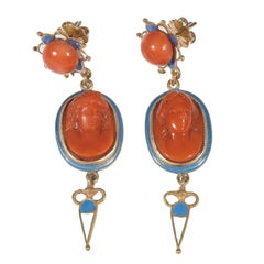 Attilio Codognato Enamel Coral Gold Cameo Earrings
