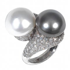 Pearl Diamond Gold Cross over Ring