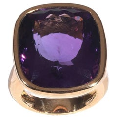 Gold Amethyst Dome Ring