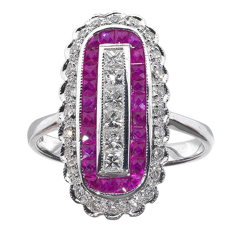 Diamond Ruby Gold Cluster Ring