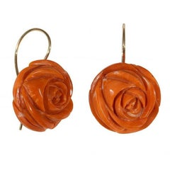 Large Pair of Antique Coral Gold Earrings