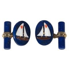 Enamel Lapis Gold Sailing Cufflinks