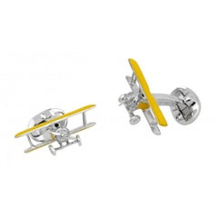 Deakin & Francis Silver Yellow Biplane Cufflinks with Rotating Propeller