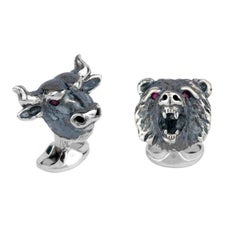 Deakin & Francis Sterling Silver Bull and Bear Cufflinks with Ruby Eyes