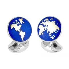 Deakin & Francis Sterling Silver Enamel World Cufflinks