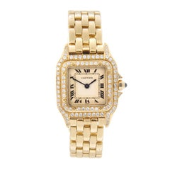 Cartier Yellow Gold Diamond Panther Bracelet quartz Wristwatch