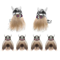 Deakin & Francis Hairy Viking Skull with Black Helmet and Ruby Eye Dress Set
