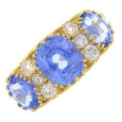 Sapphire Three-Stone and Diamond Ring