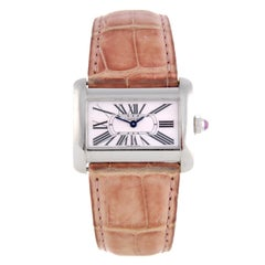 Cartier Tank Divan Wristwatch Mother of Pearl Dial Stainless Steel Case