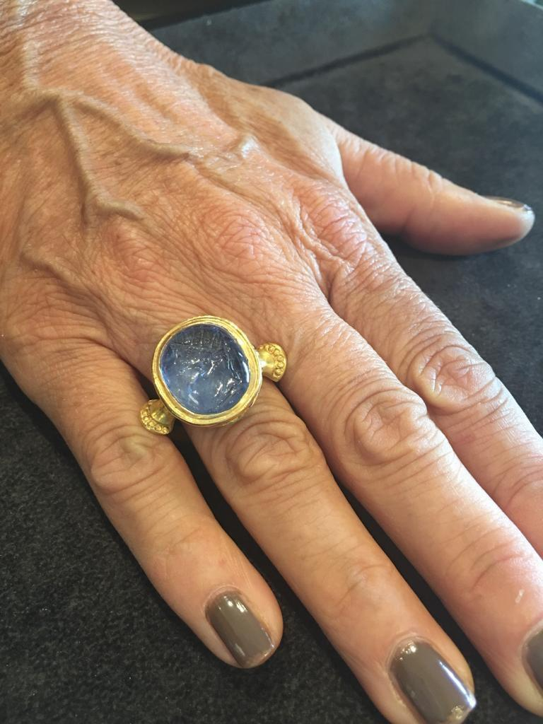 Sapphire Intaglio Ring Late 18th Century Roman Emperor Caligola 5