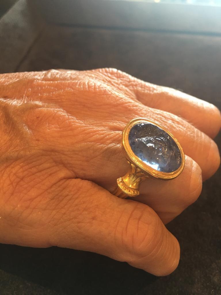Sapphire Intaglio Ring Late 18th Century Roman Emperor Caligola 6