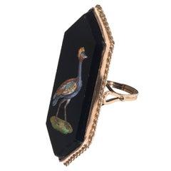19th Century Italian Gold Micromosaic Bird Ring