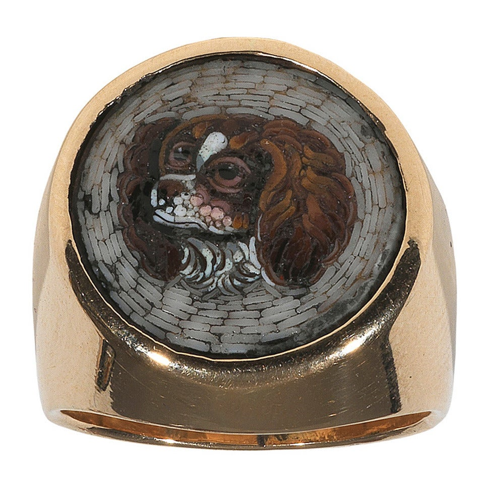 19th Century Italian Gold Micromosaic Dog Ring