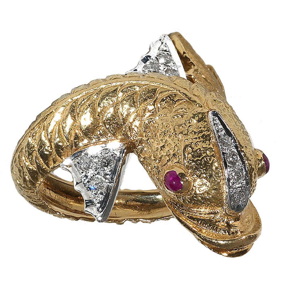 ruby two color gold dolphin ring at 1stdibs