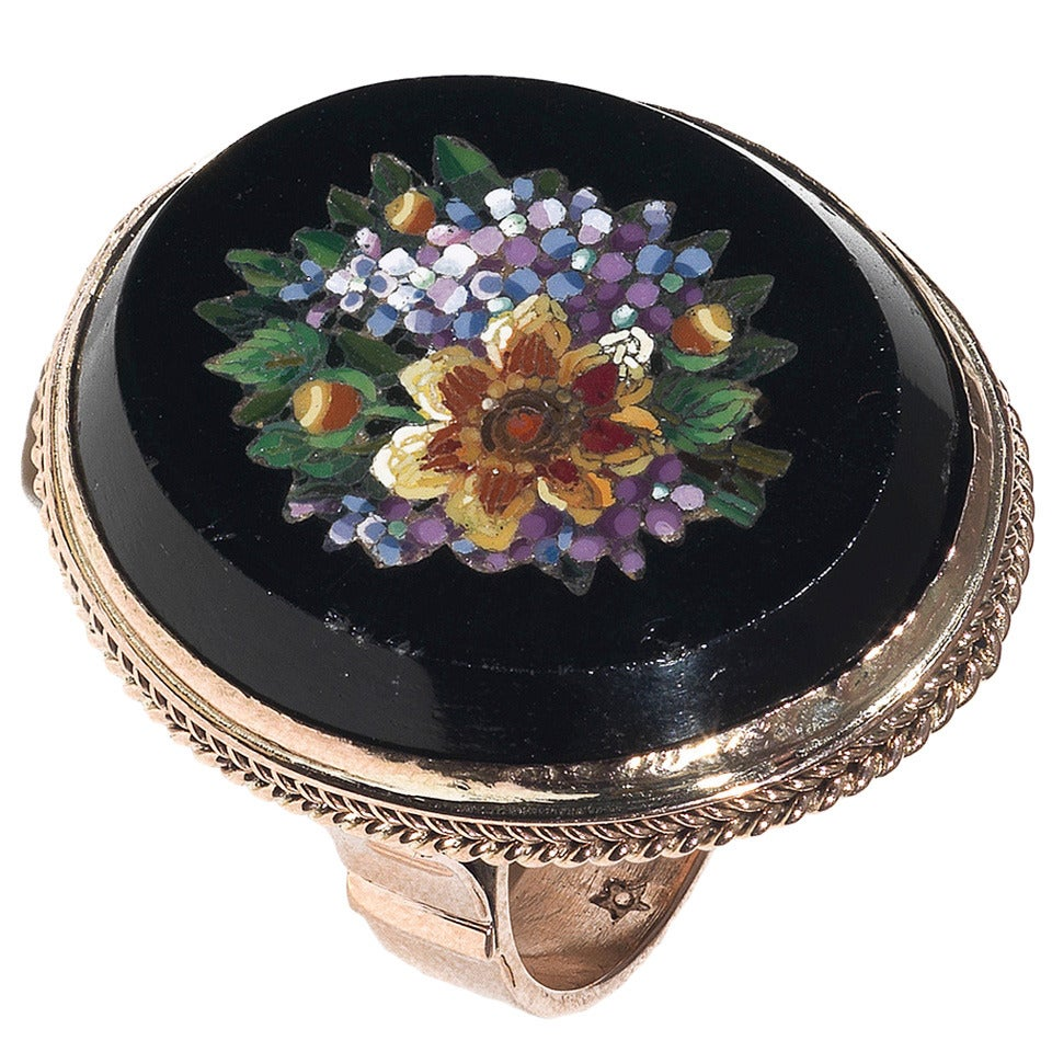 19th Century Italian Micromosaic Gold Flower Ring 1