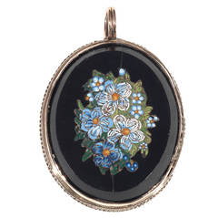 19th Century Italian Gold Micromosaic Flower Pendant