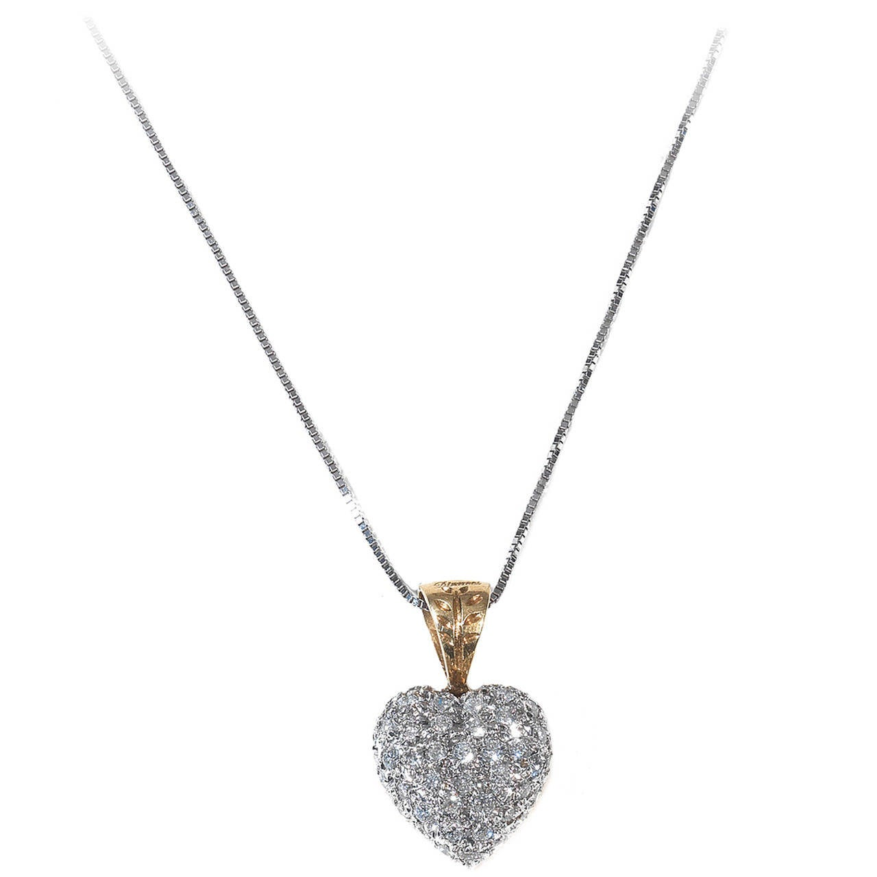 Diamond Gold Heart Shaped Pendant at 1stdibs