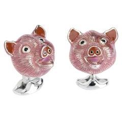 Deakin & Francis Silver Pig Head Cufflinks