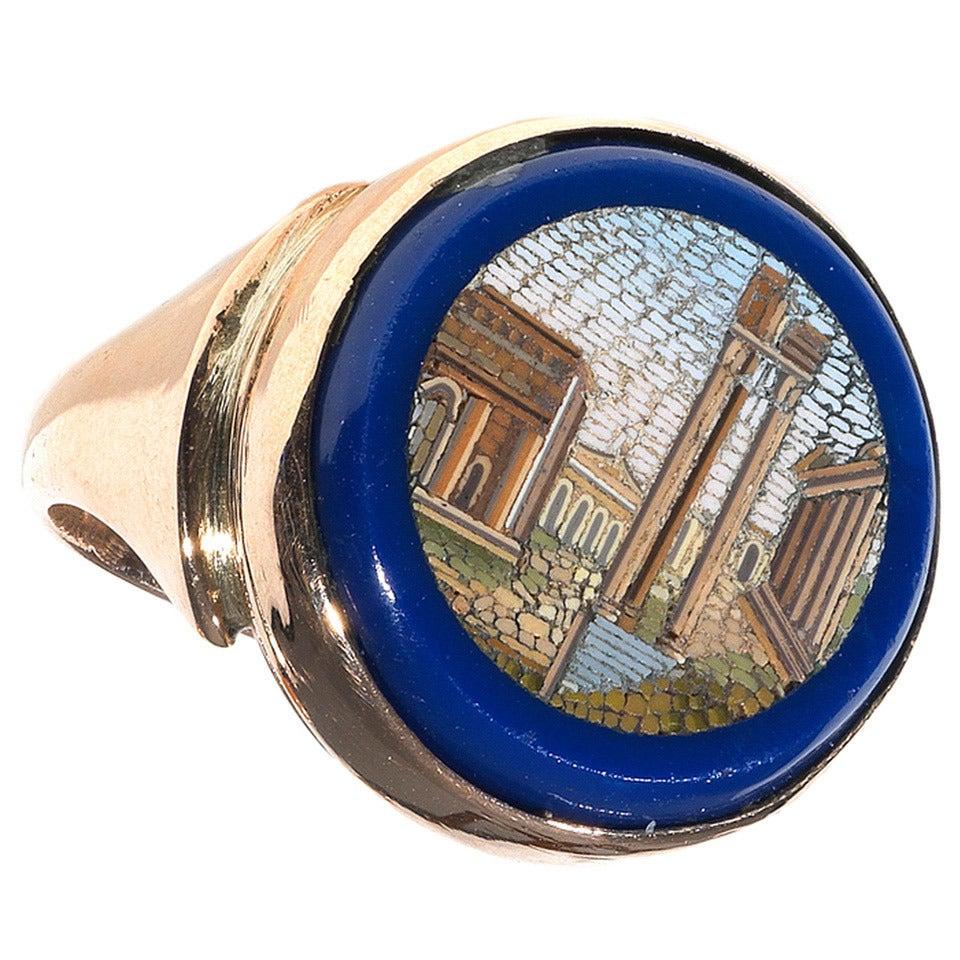 19th Century Gold Italian Micromosaic Fori Romani Ring