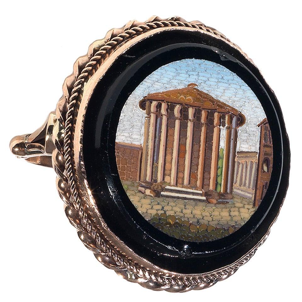 19th Century Gold Italian Micromosaic Temple of Vesta Ring