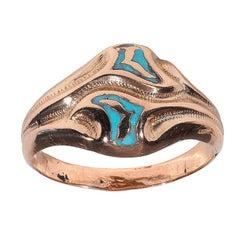 Italian Gimmel/Fede Enamel Gold Ring