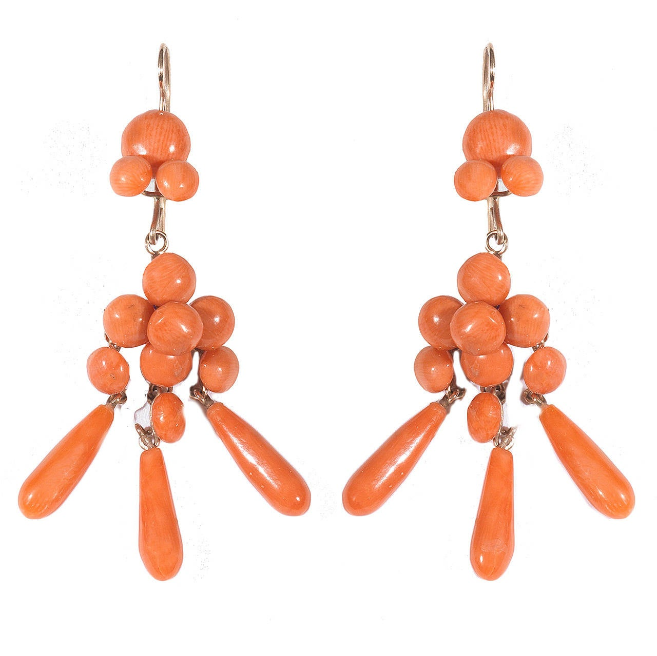 Italian Coral Gold Pendant Chandelier Earrings 1