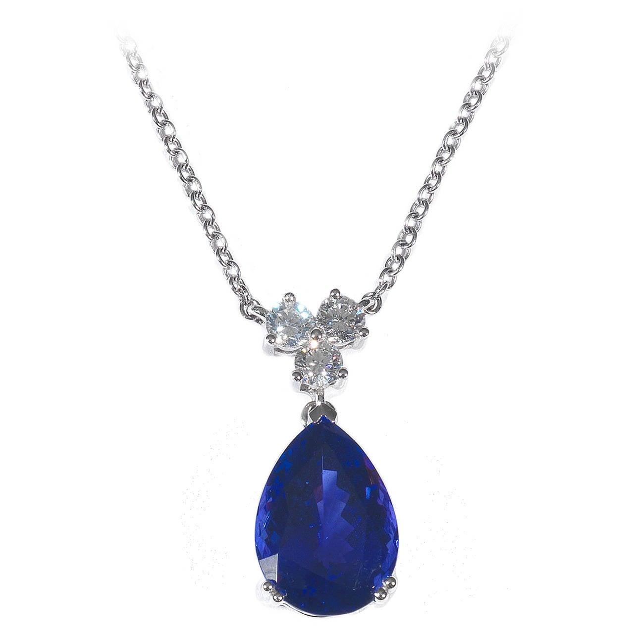 Tanzanite Diamond Gold Drop Pendant Necklace at 1stdibs