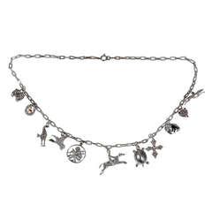 Enamel Diamond Gold Charm Link Necklace, circa 1935