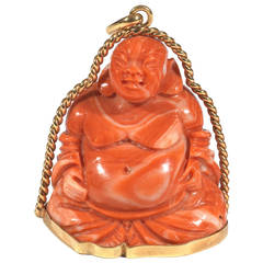Coral Gold Smiling Buddha Pendant