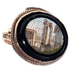 Italian Micromosaic Gold Fori Romani Ring