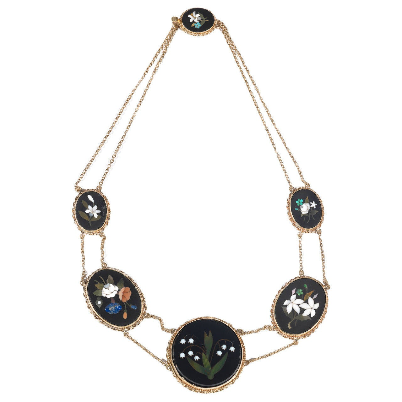 Antique Pietra Dura Flower Necklace