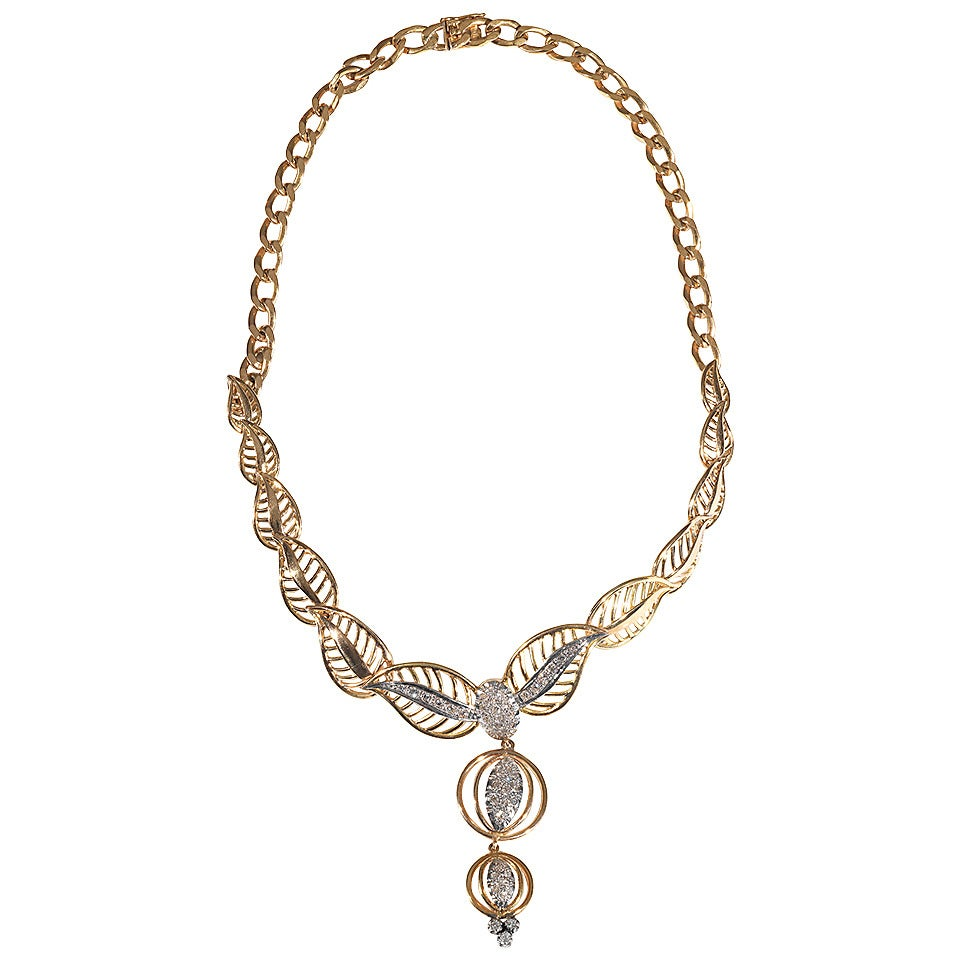 Retro Diamond Gold Platinum Necklace