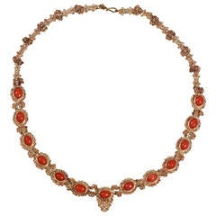 Coral Gold Filigree Necklace
