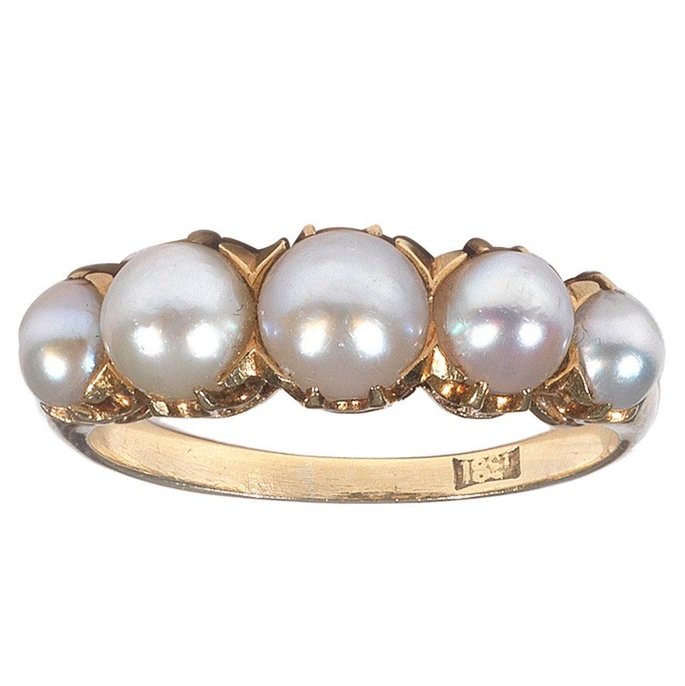 pearl gold engagement band ring at 1stdibs