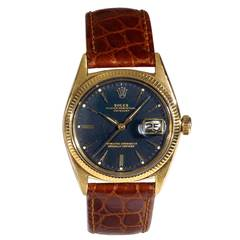Rolex Yellow Gold Oyster Perpetual Datejust Wristwatch Ref 1601